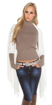 Trendy KouCla 2in1 fine knit cardigan/poncho in Wit