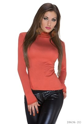 Sexy Long Sleeved Shirt in Donker Oranje