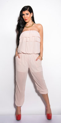 Sexy chiffon bandeau jumpsuit in Roze