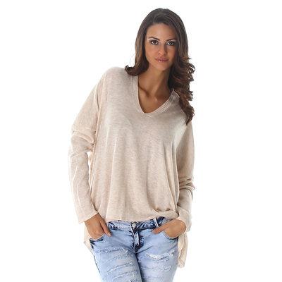 Sexy Pullover met V hals in Beige