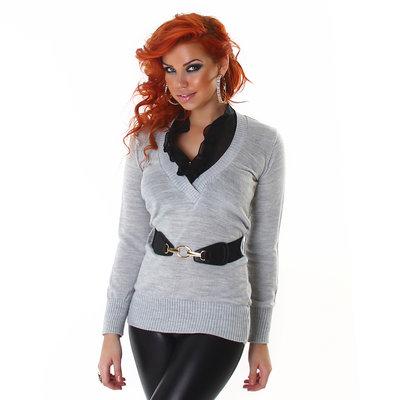 Sexy Pullover met V-Cut en riem in grijs