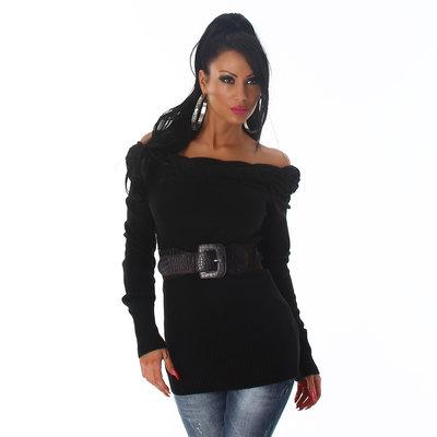Sexy Long Pullover met open schouders in Zwart