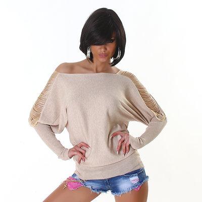 Sexy Pullover met open armen in beige