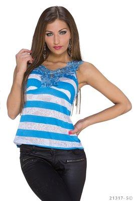 Sexy Basic Gestreept Topje in Blauw