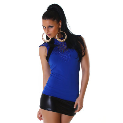 Sexy Jela London top met embroidery in blauw