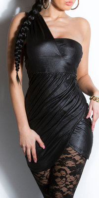 Sexy Oneshoulder minidress in Zwart