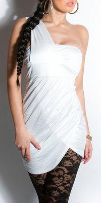 Sexy Oneshoulder minidress in Wit