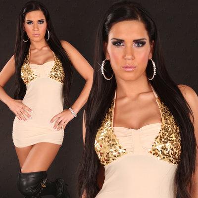 Sexy nek mini jurk met pailletten in beige