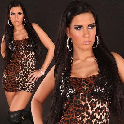 Sexy nek mini jurk met pailletten in leo