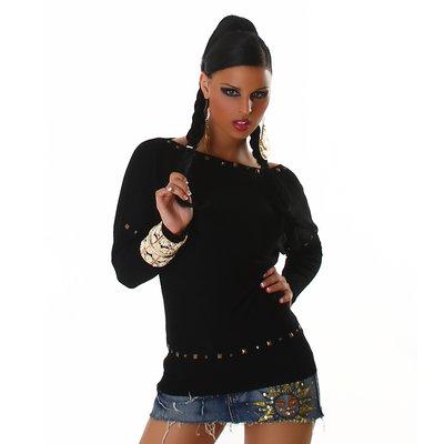Sexy Pullover L632 in zwart