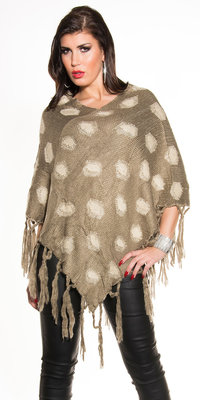 Sexy poncho met stippen patroon in cappuccino