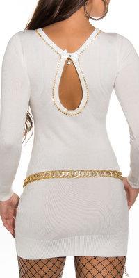Sexy KouCla V-Cut sweater met steentjes in wit