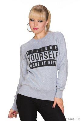 Sexy Pullover Believe in Grijs