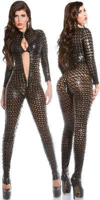 Sexy KouCla Wetlook Catsuit met Two Way Zip in Zwart