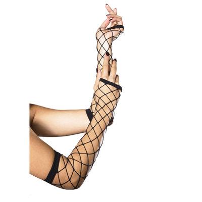 Lange Handschoenen van Netstof - Zwart