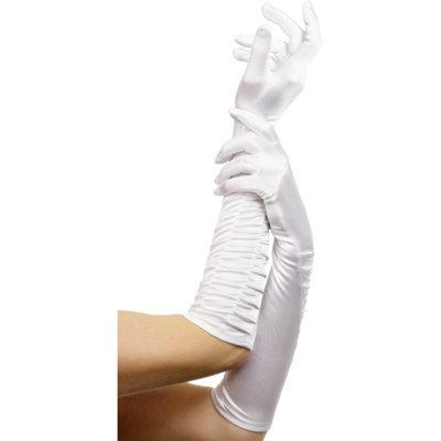 Lange glanzende handschoenen - Wit