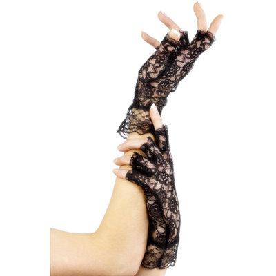 Korte kanten vingerloze handschoenen - Zwart