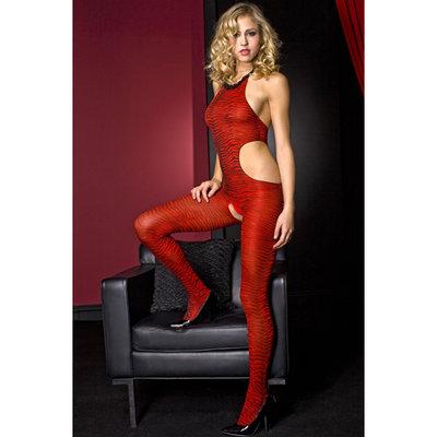 Music Legs catsuit zebra print - Rood/Zwart