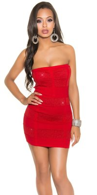 Sexy Bandeau Knitted Minidress met Lurex in Rood