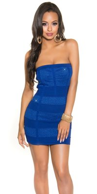 Sexy Bandeau Knitted Minidress met Lurex in Blauw