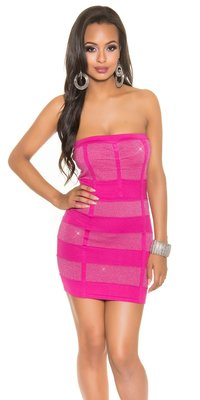 Sexy Bandeau Knitted Minidress met Lurex in Fuschia