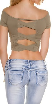 Sexy KouCla Crop Shirt met Sexy Back in Kaki