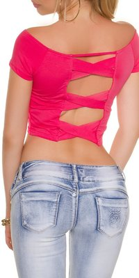 Sexy KouCla Crop Shirt met Sexy Back in Fuschia