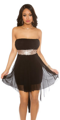Sexy Bandeau Partydress, Long on the Back in Zwart