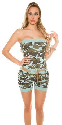 Sexy KouCla Jumpsuit in Army Print met Riem in Munt