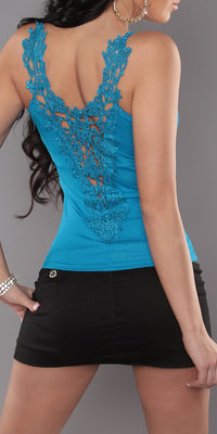 Sexy Carrier Top met Embroidery in Turquoise