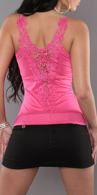 Sexy Carrier Top met Embroidery in Fuschia