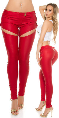 Sexy KouCla Leatherlook Broek met Sexy Cut Out in Rood