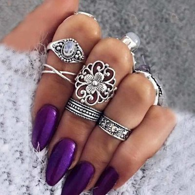 Retro Bohemian Midi Ring Set in Zilver