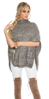 Trendy KouCla Chunky Knit Poncho met Turtlenek in Zwart