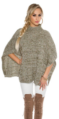 Trendy KouCla Chunky Knit Poncho met Turtlenek in Kaki
