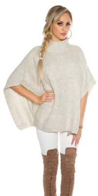 Trendy KouCla Chunky Knit Poncho met Turtlenek in Wit