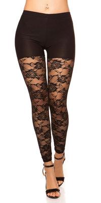 Sexy Leggings met Kant in Zwart