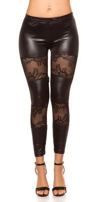Sexy Leggings met Kant Applications in Zwart