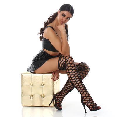 Sexy Overknee Laars met Net Look