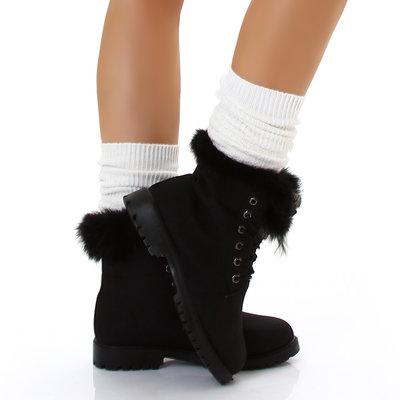 Sexy Furry Boots S172 in Zwart