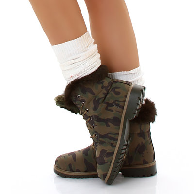 Sexy Furry Boots S172 in Camouflage