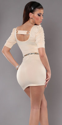 Sexy Minidress met Back Buckle & Riem in Champagne