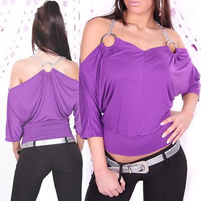 Sexy 3/4-Arm Shirt met Ringen & Kettingen in paars