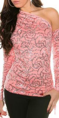 Sexy KouCla open schouder Shirt in coral