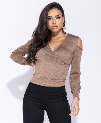 Cold Shoulder Wrapover Front Top