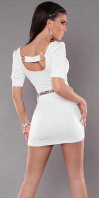 Sexy Minidress met Back Buckle & Riem in Wit
