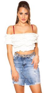 Sexy Carmen Crop Shirt in Wit