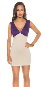 Sexy Fineknitted Party Mini Dress in Paars/Beige