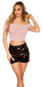 Sexy Crop Shirt Padded in Roze
