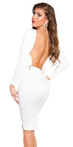 Sexy Koucla Long Sleeve Jurk Backless in Wit